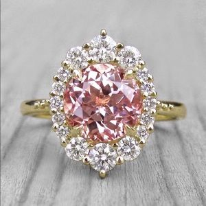 Jewelry - 14k yellow gold pink diamond halo engagement ring